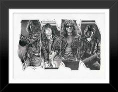 Ramones Framed Sketch Art Poster Print by Mike Duran by Innerwallz