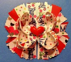 "6"" Handmade My Heart Belongs To Mommy Boutique Stacked Hair Bow  -Infant / Girls #Handmade"
