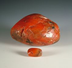 These distinct antique or ancient carnelian beads are known as 'Pema Raka' in Tibet. Many believe there are ancient and antique beads. The earliest may have been traded from Afghanistan. The carnelian material is of a particular quality and can often be opaque. The perforations are normally very large and the shape of these beads can vary. The oldest beads have considerable wear at their perforations and can often be seen on Tibetan heirloom necklaces.