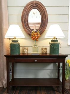 Beautiful Entryway Display, by HGTV's Sabrina Soto http://www.hgtv.com/decorating-basics/sabrinas-best-high-to-low-makeovers/pictures/page-8.html?soc=pinterest