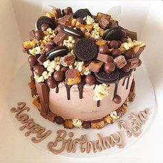- Chocolate Buttercream covered Chocolate Spongecake Topped with Oreos Chocolate Maltesers and Caramel Popcorn! TAG a Cake Lover! - Cake by: @sweet_treatsbymartie