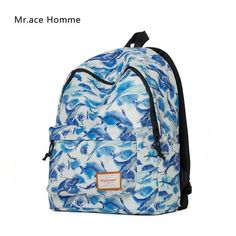 Mr.Ace Homme New Backpack Korean Style Fashion Bag Hot Sale for Women Travel Backpack Cartoon Whale Printed School Bags mochila
