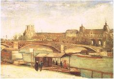 Painting, Oil on Canvas Paris: June, 1886 Collection F. Herman Los Angeles, California, United States of America, North America  Van Gogh: Pont du Carrousel and the Louvre, The Van Gogh Gallery