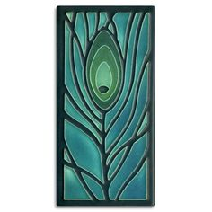 This design was inspired by a tiny design of a tiny bit of peacock feather on an Arts & Crafts-period vase. Nawal Motawi found that little hint of an idea irresistible, and this beloved tile is the result. Actual tile size: inches high x inches wide Azulejos Art Nouveau, Art Nouveau Tiles, Raku Pottery, Art And Craft Design, Design Crafts, Mosaic Glass, Glass Art, Stained Glass, Fused Glass
