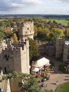 View from one of Warwick Castle's towers, Warwickshire, England, built by William the Conqueror in 1068