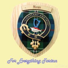 Clan RoseTartan Woodcarver Wooden Wall Plaque Rose Crest 7 x 8