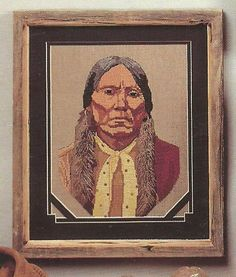 Digital Embroidery Needlepoint American Indian Quanah Parker Warrior Pattern