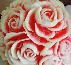 watermelon rose carving Watermelon, Carving, Deco, Rose, Flowers, Plants, Wedding, Valentines Day Weddings, Pink