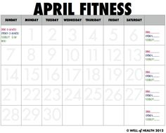 April Fitness Calendar | Well of Health