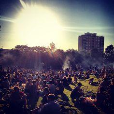 Sunshine bringing people together.