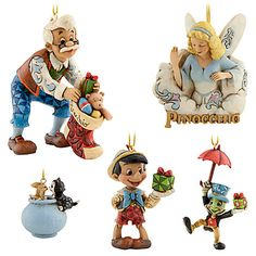 Disney Pinocchio Ornament Set by Jim Shore: There is nothing I love more than Jim Shore Disney ornaments. Disney Christmas Decorations, Xmas Tree Decorations, Miss Piggy, Jim Shore Christmas, Christmas Things, Christmas Holiday, Pinocchio Disney, Peanuts Christmas, Disney Figurines