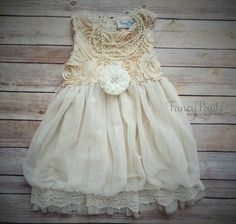 Ivory Toddler Dress Vintage Dress Flower girl by byFancyPants