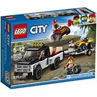 Get ready to race with the LEGO city ATV race team. Pickup truck features a pickup bed with room for an ATV, trailer hitch and a ramp, trailer features space up front for an extra wheel and ramp. Lego City Sets, Lego Sets, Legos, Quad, Toy Pickup Trucks, Jeep Pickup, Atv Car, Yellow Car, Buy Lego