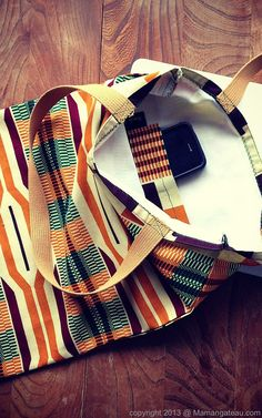 Kente African design stylish pocket tote bag READY by MamanGateau, £20.00