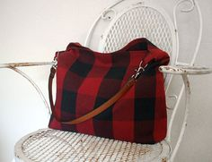 Fall Hobo Bag in Red Black Buffalo Plaid w Leather by hellome, $42.00