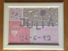Reciclando telas hemos realizado un precioso cuadro collage, regalo ideal para un recién nacido.