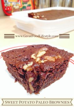 "This is my ""go-to"" recipe when I want a quick, satisfying dessert. These brownies are moist, rich, and very chocolatey! I lost 8 sizes and reversed Type 2 Diabetes through diet and lifestyle. For more healthy, tasty recipes, follow me on Pinterest and subscribe to my blog at www.GreatFoodLifestyle.com. #paleosweetpotatobrownies"