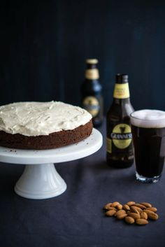 Beer  Nuts (Chocolate Almond Guiness Cake)  Ingredients Cake 1.5 cup plain flour 1.25 cup almond meal 1 cup brown sugar firmly packed ⅓ cup natural cocoa powder 1 tsp baking soda ½ tsp baking powder 250 mls Guinness or other stout beer ⅓ cup melted coconut oil (can substitute with mild-tasting vegetable oil) 2 tsp vanilla bean