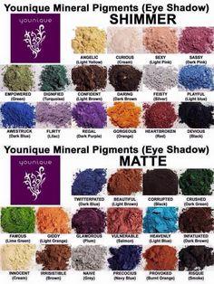 Les différents pigments des fards à paupières poudre minérale Younique/ The different pigments of Younique eyeshadow mineral powder