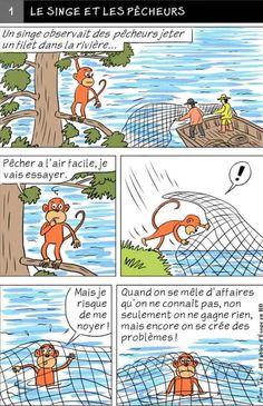 Fables D'esope, Teaching French, Illustrations, Comics, French Language, Learn French, Languages, French Tips, Monkeys