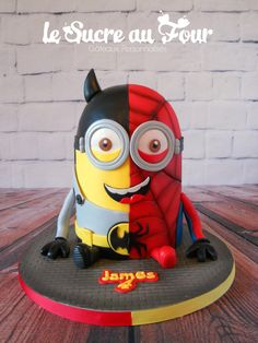 Minion cake, half spiderman half batman