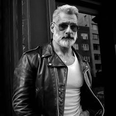 Choosing The Right Men's Leather Jackets. A leather coat is a must for every single guy's closet and is also an excellent method to express his personal design. Leather coats never ever head Anthony Varrecchia, Leather Men, Leather Jacket, Grey Beards, Beard No Mustache, Older Men, Hair And Beard Styles, Haircuts For Men, Bearded Men
