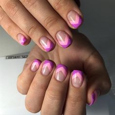 Accurate nails, Beautiful summer french nails, French manicure ideas 2017, Pink french manicure, Purple french manicure, Shellac nails 2017, Spring french manicure, Spring summer nails 2017