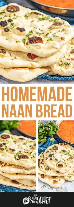 It's easy to make your own delicious homemade Naan. This traditional Indian flatbread can easily be made at home using simple ingredients and either a skillet or a grill. Homemade Naan Bread, Recipes With Naan Bread, Indian Naan Bread Recipe, Nana Bread, Biscuit Bread, Stay At Home Chef, Comida India, Indian Food Recipes, Ethnic Recipes