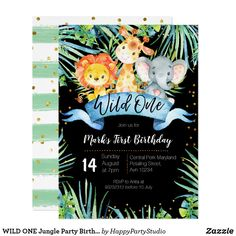 Shop WILD ONE Jungle Party Birthday Invitation card created by HappyPartyStudio. Crayon Birthday Parties, Boys First Birthday Party Ideas, Wild One Birthday Party, 1st Birthday Girls, First Birthday Invitation Cards, Wild One Birthday Invitations, Invitation Card Party, Invites, Jungle Party