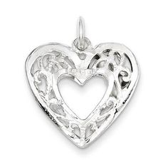 "NEW 925 STERLING SILVER HOLLOW FILIGREE HEART 3D .78"" X .83"" PENDANT CHARM 2.5g #Pendant"