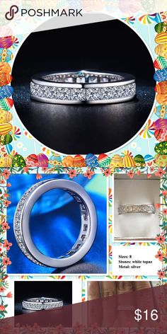 3ct princess cut white topaz silver ring NWOT White topaz full eternity silver ring ( S925 stamped ) brand new in box Jewelry Rings