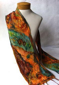 Nuno felt scarf in teal, green, orange and yellow.