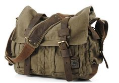 Men's Military Canvas Leather Satchel School Laptop Shoulder Messenger Bag Features Condition: New Material: Canvas with Leather Colour: Green,Army Green,Army Grey,Tan Dimensions: x x x x CM. Military Messenger Bag, Womens Messenger Bag, Vintage Messenger Bag, Canvas Messenger Bag, Large Shoulder Bags, Shoulder Strap, Medium Bags, Mode Style, Canvas Leather
