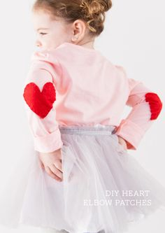 the CUTEST DIY Valentine tee - just add felt hearts to the elbows for a DIY heart elbow patch tee or cardi