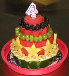 """The """"cake"""" I'm going to make for Austin's Birthday! It is fruit! So GOOD for you in comparison to traditional cakes! Healthy Birthday Cakes, Fruit Birthday Cake, Watermelon Birthday, Healthy Cake, Healthy Birthday Cake Alternatives, Summer Birthday, Cake Made Of Fruit, Fresh Fruit Cake, Fruit Cakes"""