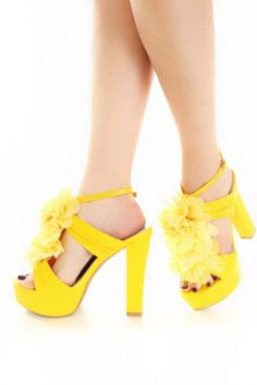 Or these yellow shoes for the bumblebee hostess! Love the black toe nail polish!