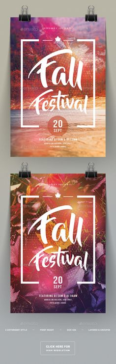 Fall Festival Party Flyer Template PSD