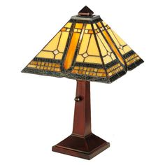Craftsman accent lamp in various shades of amber art glass.