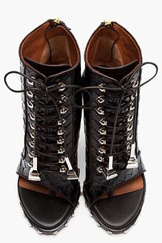 GIVENCHY Black Embossed Leather Open Toe Studded Ankle Boots