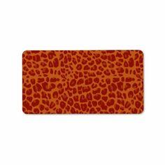 Burnt orange leopard print pattern personalized address labels