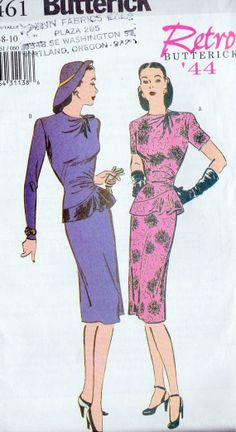 1940s Inspired Cocktail Dress Sewing Pattern, Cocktail Dress, Dinner Dress, Reissued of 1944 Butterick 6461 Sz 6, 8, 10 uncut