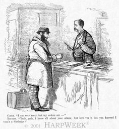 This cartoon is based on an actual incident when a hotel in the resort area of Saratoga, New York, denied a room to a Jewish tourist.  On the editorial page of Harper's Weekly the anti-Semitic practice was condemned.  Here, though, the cartoonist makes light of the situation by stereotyping the appearance and speech of the Jewish patron. The First Jews in New York were Sephardic immigrants from Brazil...in 1654 #antisemitism