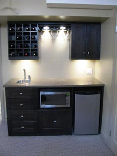 Custom Wet Bar With Kegerator and Wine Cooler | Wet Bar Area ...