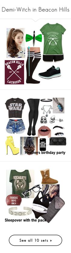 """""""Demi-Witch in Beacon Hills"""" by always-fangirling ❤ liked on Polyvore featuring jewelry, necklaces, accessories, braid crown, statement choker necklace, crown pendant necklace, crown pendant, aqua necklace, Pepper & Mayne and Charlotte Russe"""