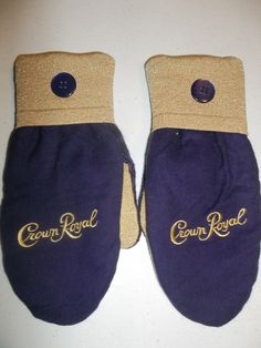 Crown Royal Mittens!  ONE OF A KIND!! Purple, Yellow and Gold! Crown Royal Bag/Sweater Mittens!