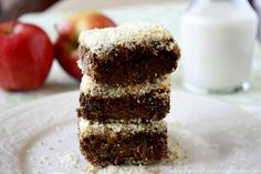 Vegan Cacao Almond Baked Breakfast Quinoa Squares. Good idea for breakfast & coffee on the go. -- Need Almond meal though...