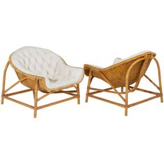 Pair of Tufted Bamboo Lounge Chairs in the Manner of Franco Albini | 1stdibs.com