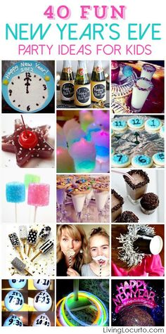 New Years Eve Party Ideas for Kids! Bringing in a new year is always a highlight in our house. It can be a wild fun time spent with family and friends or a quiet night at home snuggled up by a fire. Here are some great party ideas to keep kids entertained while watching the count down and waiting for the ball to drop. Enjoy over 40 ideas for New Years Eve! Games, Food, Activities and Cute Recipes for Kids. #newyears #newyearseve #newyearseveparty