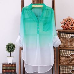 Full sleeve turquoise green long shirt for summer... click on picture to see more