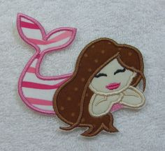 Mermaid Fabric Embroidered Iron On Applique Patch Ready to Ship by TheAppliquePatch on Etsy